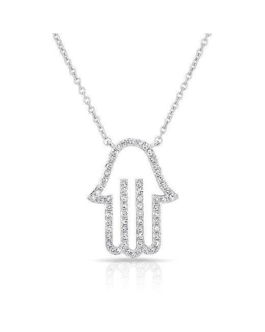 Anne Sisteron - Metallic 14kt White Gold Diamond Hamsa Necklace - Lyst