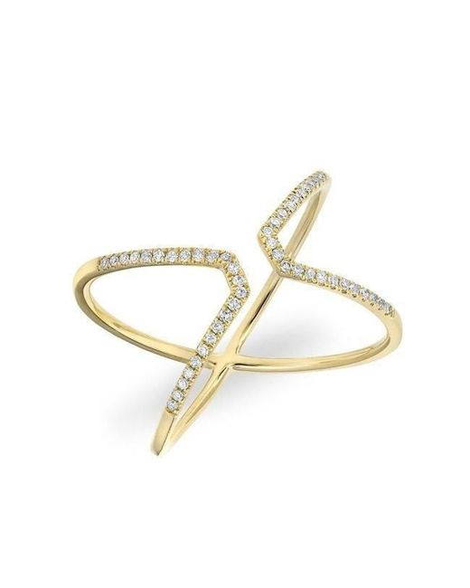 Anne Sisteron - Metallic 14kt Yellow Gold Diamond Open X Ring - Lyst