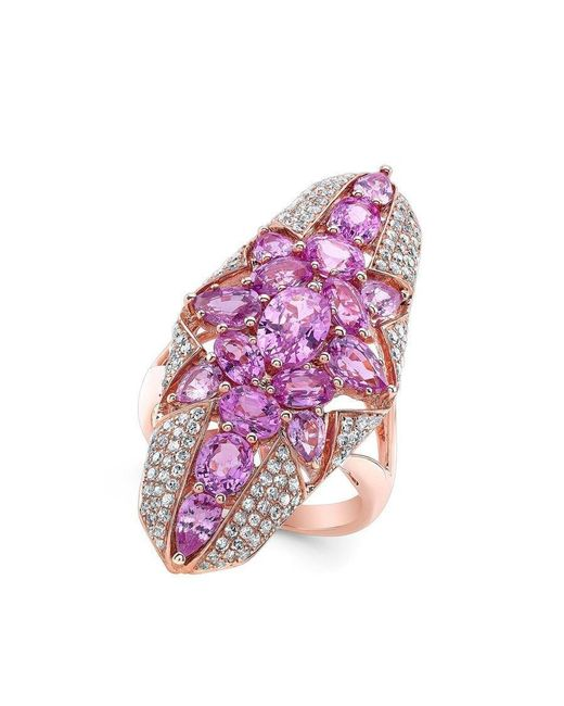 Anne Sisteron | Multicolor 14kt Rose Gold Pink Sapphire Star Diamond Ring | Lyst