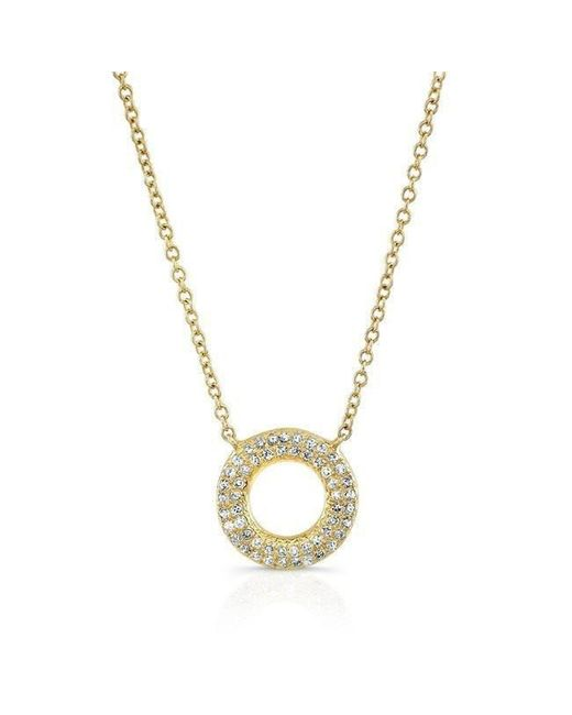 Anne Sisteron - Metallic 14kt Yellow Gold Diamond Open Circle Necklace - Lyst