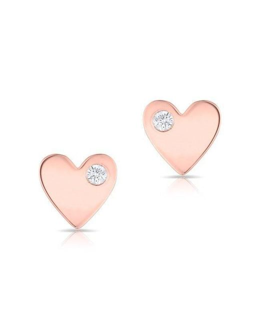 Anne Sisteron - Pink 14kt Rose Gold Diamond In My Heart Stud Earrings - Lyst