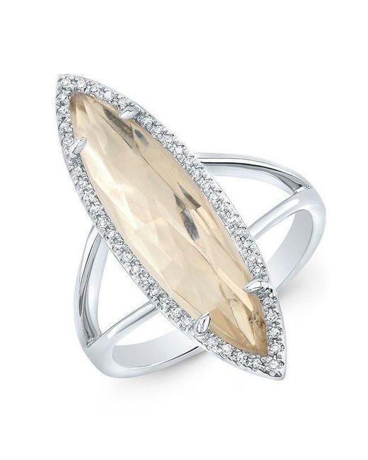 Anne Sisteron - Metallic 14kt White Gold Diamond Topaz Small Serena Ring - Lyst