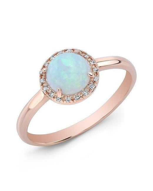 Anne Sisteron - 14kt Rose Gold White Opal Diamond Solitaire Ring - Lyst