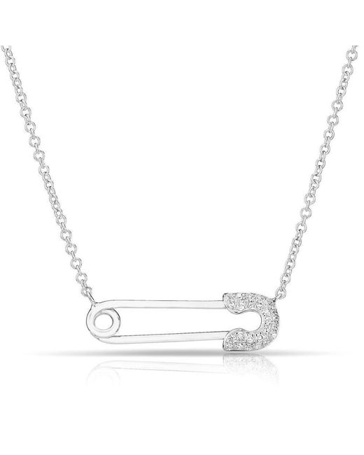 Anne Sisteron - 14kt White Gold Diamond Safety Pin Necklace - Lyst