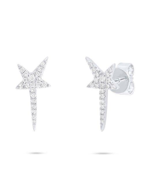 Anne Sisteron - Metallic 14kt White Gold Diamond Star Wand Earrings - Lyst