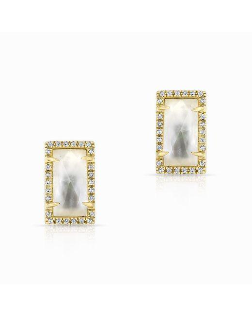 Anne Sisteron - Metallic 14kt Yellow Gold Diamond Mother Of Pearl Sara Stud Earrings - Lyst