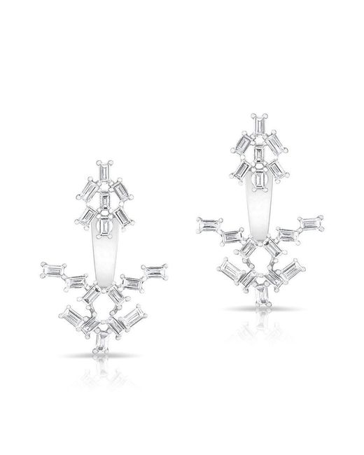Anne Sisteron - Metallic 14kt White Gold Baguette Diamond Anastasia Floating Earrings - Lyst