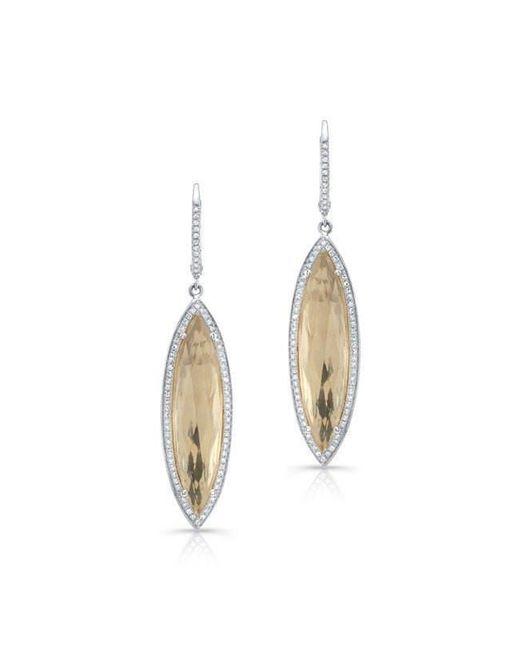 Anne Sisteron - 14kt White Gold Diamond White Topaz Serena Marquis Earrings - Lyst