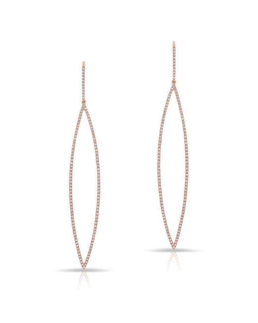 Anne Sisteron - Metallic 14kt Rose Gold Diamond Sleek Open Marquis Earrings - Lyst