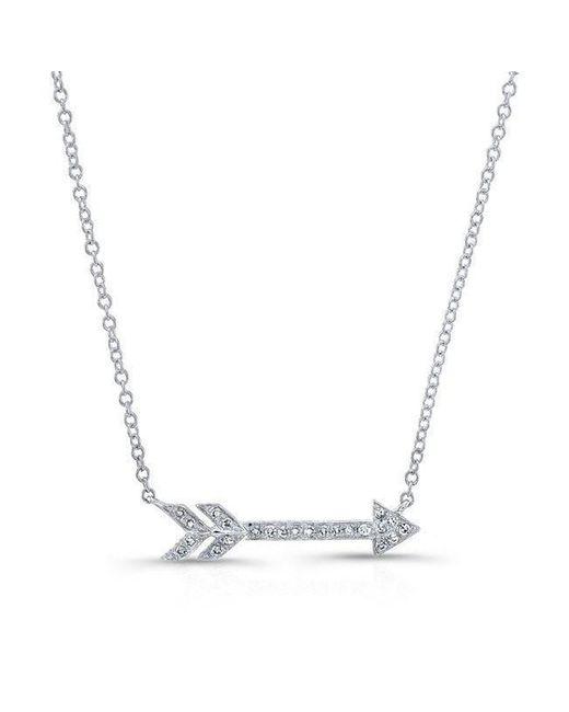 Anne Sisteron - Metallic 14kt White Gold Diamond Arrow Necklace - Lyst