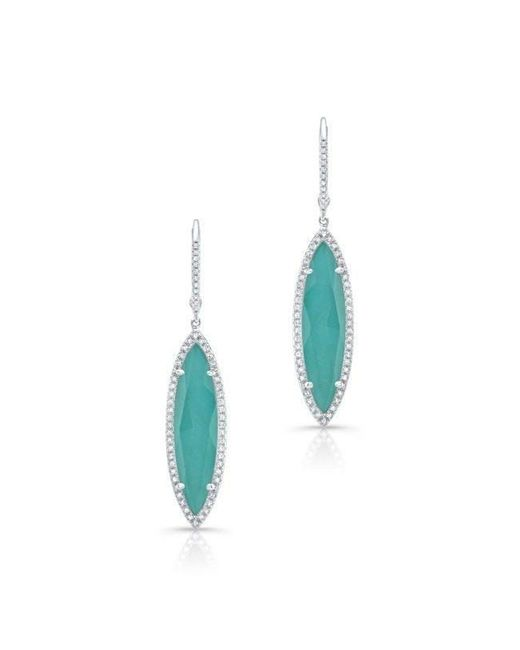 Anne Sisteron | Blue 14kt White Gold Diamond Turquoise Turquesa Small Marquis Earrings | Lyst