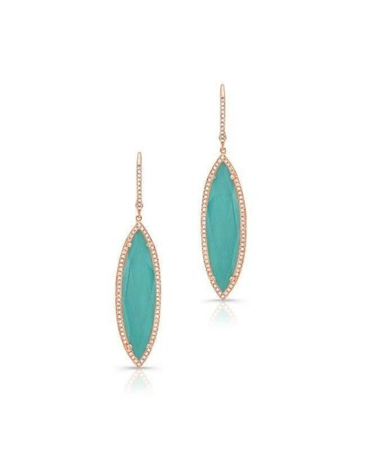 Anne Sisteron - Blue 14kt Rose Gold Diamond Turquoise Turquesa Marquis Earrings - Lyst