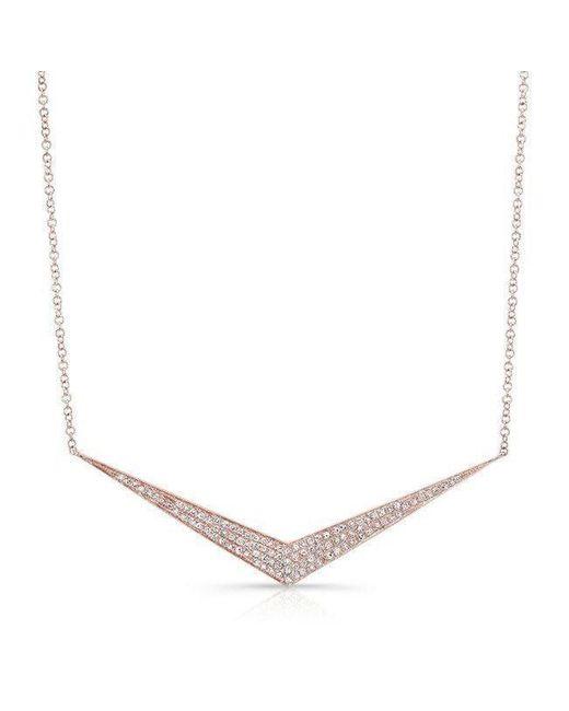 Anne Sisteron - Metallic 14kt Rose Gold Diamond Chevron Necklace - Lyst