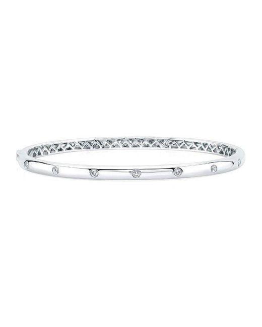 Anne Sisteron | Metallic 14kt White Gold Glisten Half Diamond Bangle Bracelet | Lyst