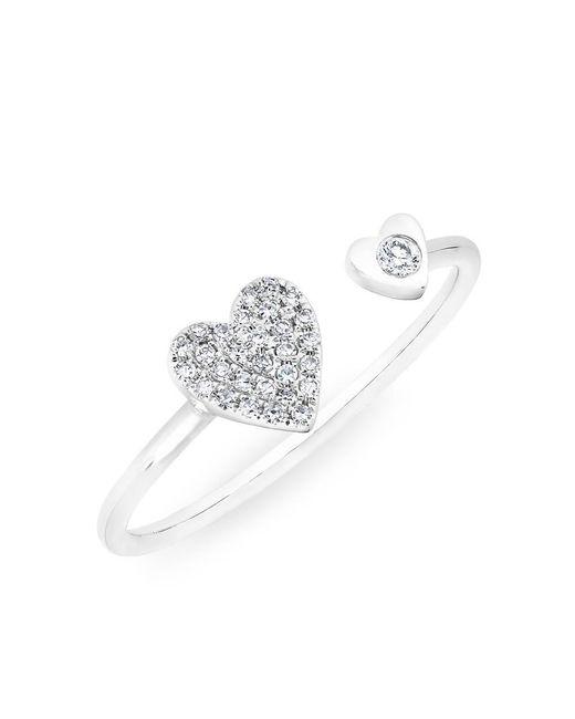 Anne Sisteron - Metallic 14kt White Gold Diamond Double Heart Ring - Lyst