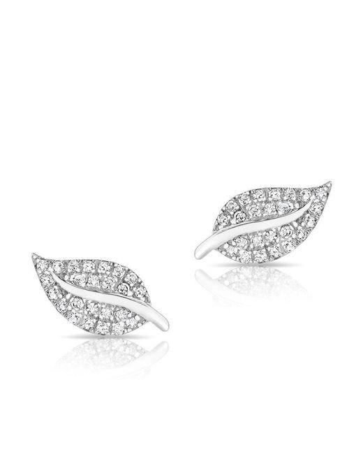 Anne Sisteron - Multicolor 14kt Rose Gold Diamond Mini Tea Leaf Stud Earrings - Lyst
