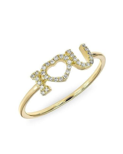 Anne Sisteron - Metallic 14kt Yellow Gold Diamond I - Heart - U Ring - Lyst