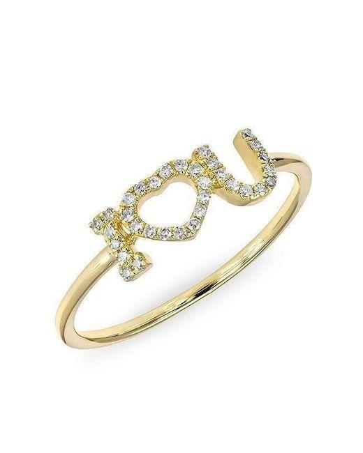 Anne Sisteron | Metallic 14kt Yellow Gold Diamond I - Heart - U Ring | Lyst