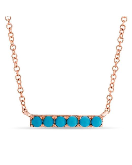 Anne Sisteron - Blue 14kt Rose Gold Turquoise Mini Bar Necklace - Lyst