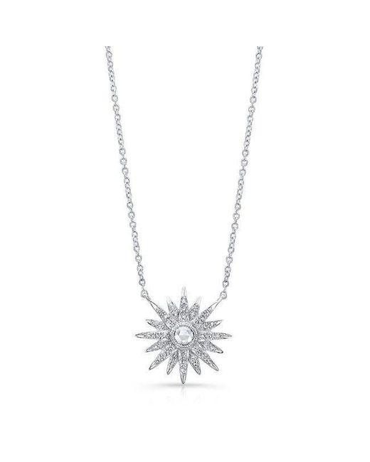 Anne Sisteron - Metallic 14kt White Gold Diamond Vintage Style Starburst Necklace - Lyst