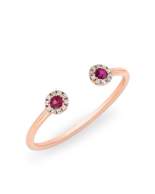 Anne Sisteron - Pink 14kt Rose Gold Diamond And Ruby Open Sally Ring - Lyst