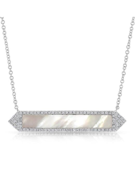 Anne Sisteron | Metallic 14kt White Gold Mother Of Pearl Diamond Bar Necklace | Lyst