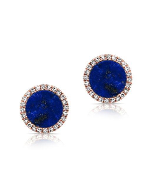 Anne Sisteron   Blue 14kt Rose Gold Lapis Diamond Disc Stud Earrings   Lyst
