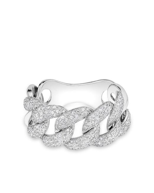 Anne Sisteron | Metallic 14kt White Gold Luxe Light Diamond Chain Link Ring | Lyst
