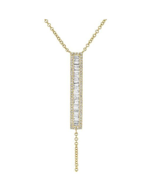 Anne Sisteron | Metallic 14kt Yellow Gold Baguette Diamond Bar Lariat Necklace | Lyst