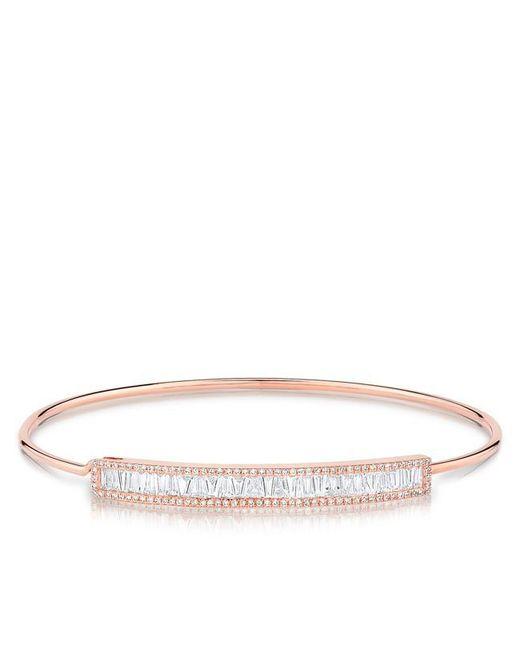 Anne Sisteron | Metallic 14kt Rose Gold Diamond Baguette Latch Bracelet | Lyst