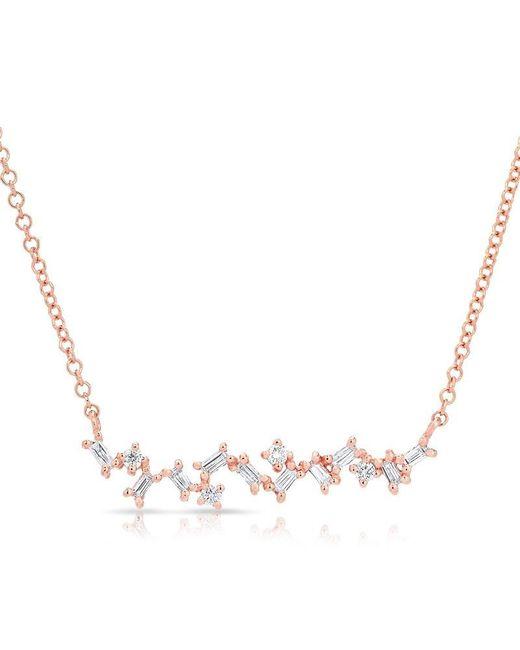 Anne Sisteron | Metallic 14kt Rose Gold Diamond Jagged Bar Necklace | Lyst