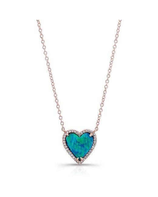 Anne Sisteron | Blue 14kt Rose Gold Opal Heart Diamond Necklace | Lyst