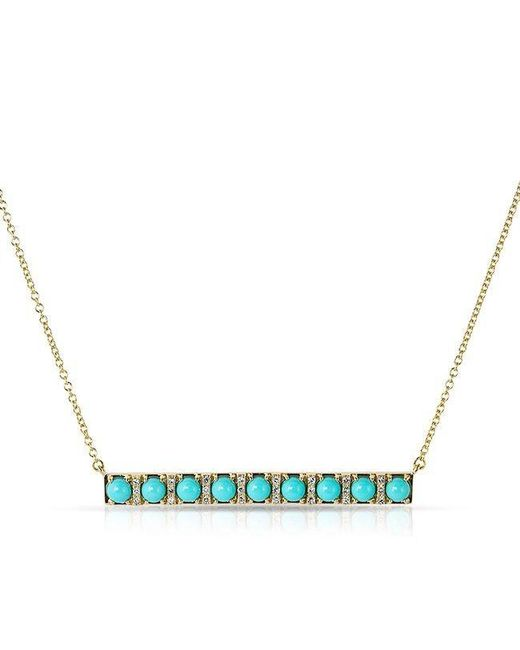 Anne Sisteron | Blue 14kt Yellow Gold Turquoise Diamond Bar Necklace | Lyst