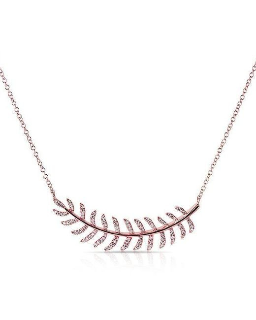 Anne Sisteron | Metallic 14kt Rose Gold Diamond Crescent Palm Necklace | Lyst