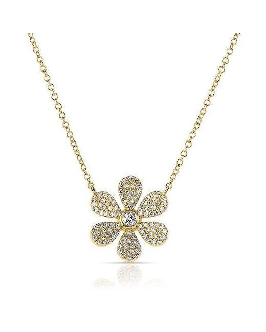 Anne Sisteron | Metallic 14kt Yellow Gold Diamond Daisy Flower Necklace | Lyst