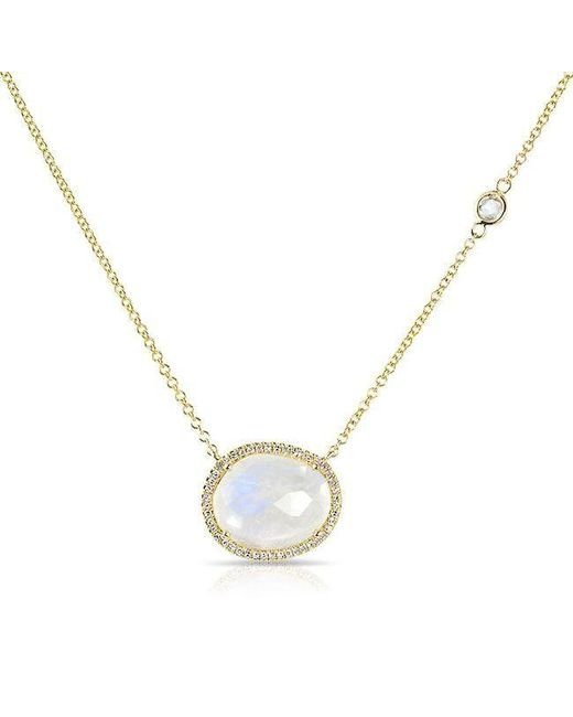Anne Sisteron | Metallic 14kt Yellow Gold Organic Moonstone Diamond Orbit Necklace | Lyst