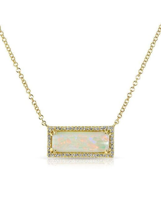 Anne Sisteron | Metallic 14kt Yellow Gold White Opal Diamond Block Necklace | Lyst