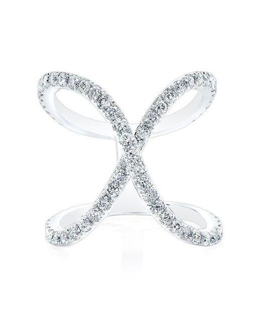 Anne Sisteron   Metallic 14kt White Gold Diamond Curved X Ring   Lyst