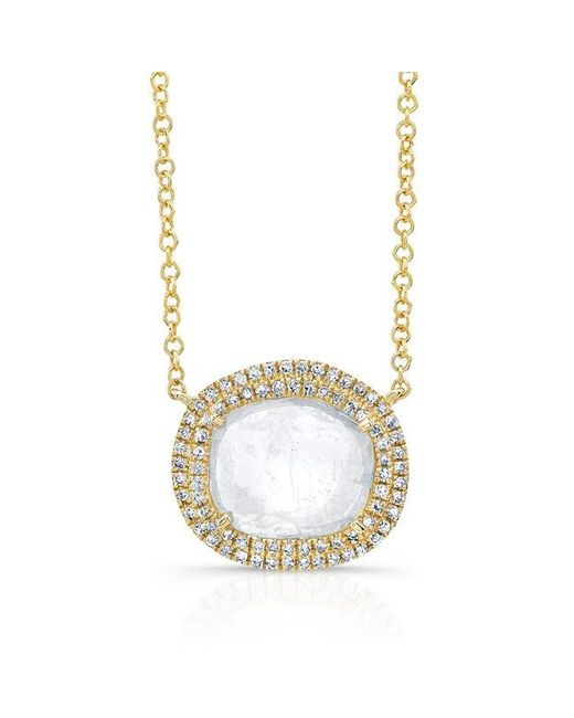 Anne Sisteron | Metallic 14kt Yellow Gold Diamond Slice Double Halo Necklace | Lyst