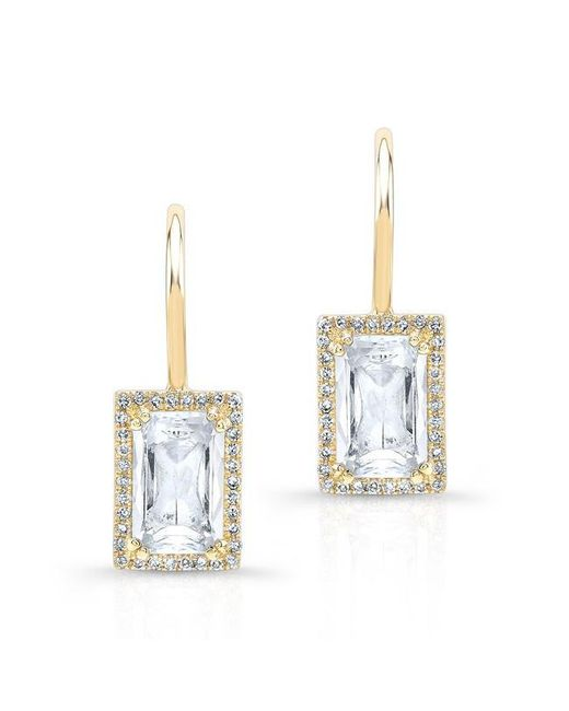 Anne Sisteron | Metallic 14kt Yellow Gold Rectangle White Topaz Diamond Earrings | Lyst