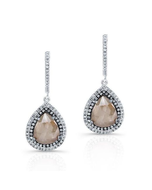 Anne Sisteron | Metallic 14kt White Gold Pear Shape Raw Diamond Double Halo Earrings | Lyst