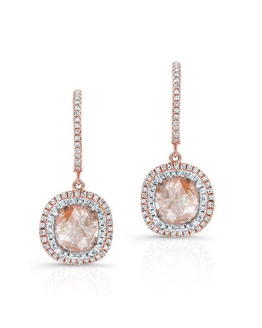 Anne Sisteron | Metallic 14kt Rose Gold Raw Diamond Double Halo Earrings | Lyst