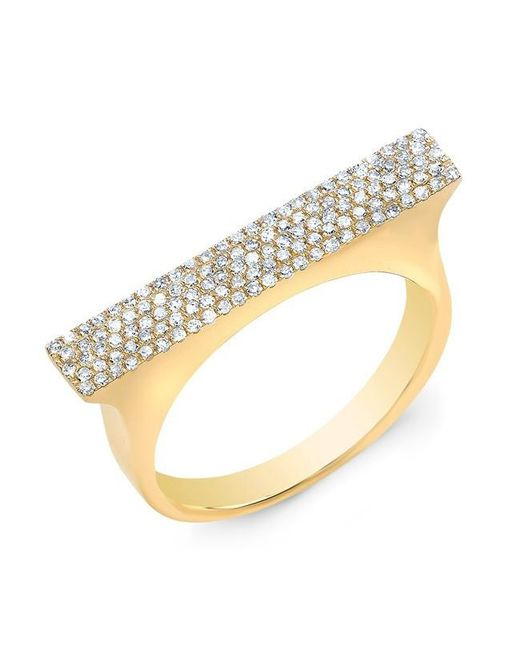 Anne Sisteron | Metallic 14kt Yellow Gold Diamond Thick Bar Ring | Lyst