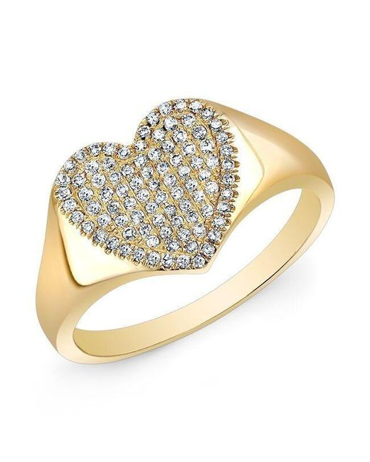 Anne Sisteron | Metallic 14kt Yellow Gold Diamond Rachel Heart Ring | Lyst