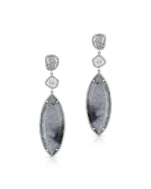 Anne Sisteron | Metallic 14kt White Gold Diamond Slice Labradorite Earrings | Lyst