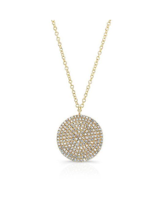 Anne Sisteron | Metallic 14kt Yellow Gold Large Diamond Disc Necklace | Lyst
