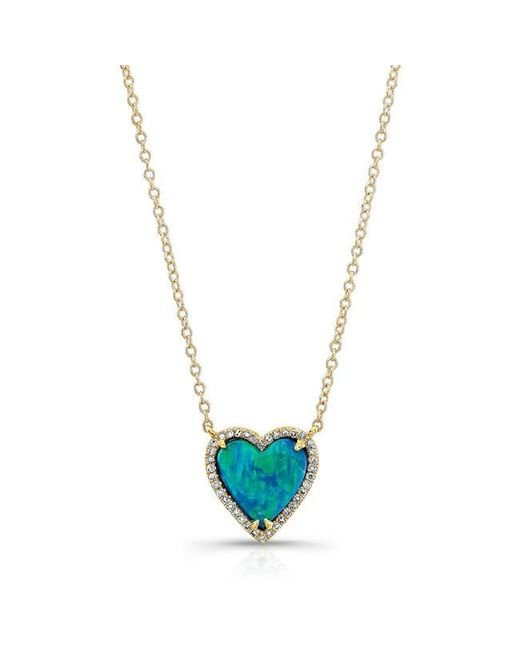 Anne Sisteron | Metallic 14kt Rose Gold Opal Heart Diamond Necklace | Lyst