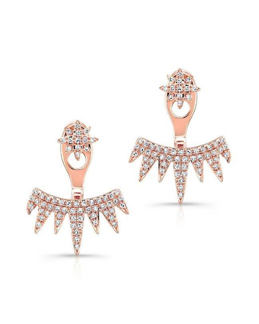 Anne Sisteron | Multicolor 14kt Rose Gold Diamond Spiked Tiara Floating Earrings | Lyst