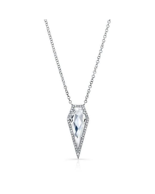 Anne Sisteron | Metallic 14kt White Gold White Topaz Diamond Spear Necklace | Lyst