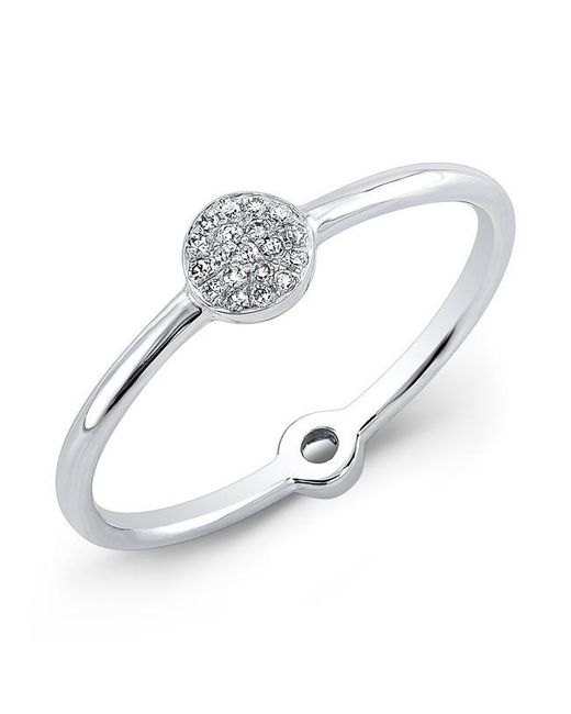 Anne Sisteron | Metallic 14kt White Gold Diamond Mini Disc Ring | Lyst